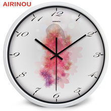 Airinou 10-12-14 Inches Glass Beautidul Flower Wall Clock for Girl Boy women men Lovely Design Study Room Living Room Clock
