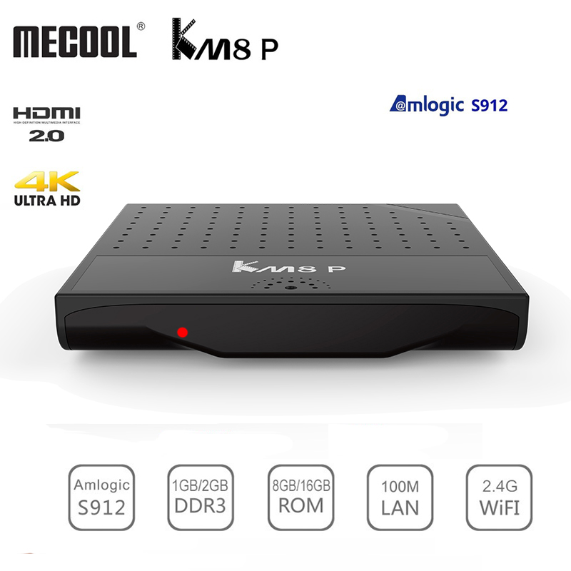 Mecool KM8 P Amlogic S912 Android 7.1 Smart TV Box ROM 1G RAM 8G ROM 2.4G WiFi 4K Ultra Thin HD Set Top Box Player Support 3D