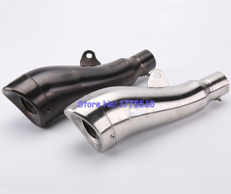 PHULEOVEO 51mm Inlet Stainelss Steel Motorcycle Exhaust Muffler With DB Killer For CB400 600 CBR600 1000 YZF FZ400 Z750 YZF600 inlet 51mm motorcycle universal exhaust muffler pipe with db killer for akrapovic large displacement steel carbon aluminum
