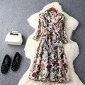2017 nuevo de alta calidad primavera verano impresión delgada abrigos vintage flores mujeres clothing xl sobretodo de la manera