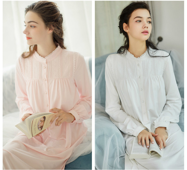 Pink,White Long Ankle-Length Nightgown Cotton Nightgown Soft Big Size Princess Royal Victorian Sleepwear Arab Lady Night Dress