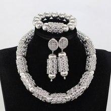 Большой смелое заявление комплект ювелирных изделий Серебро африканские бусы Свадебные украшения в нигерийском стиле Для женщин вечерние подарок набор с коротким ожерельем WE237