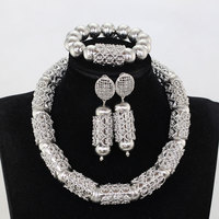Big Bold Statement Jewelry Set Silver African Wedding Beads Jewelry Set Nigerian Women Party Gift Chunky Necklace Set WE237