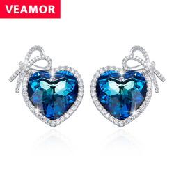 Veamor real silver 925 love heart stud earrings for women blue crystals from australia bowknot earring.jpg 250x250