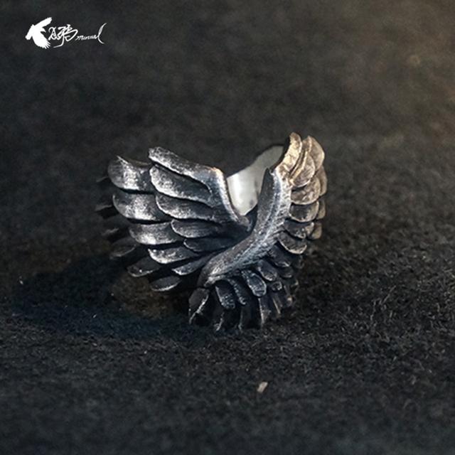 Customize Angel Wings Ring s925 Retro Men's Angel Wings Rings Biker Rock Punk Ring for Women Men Gift Couples Gift Jewelry Ring