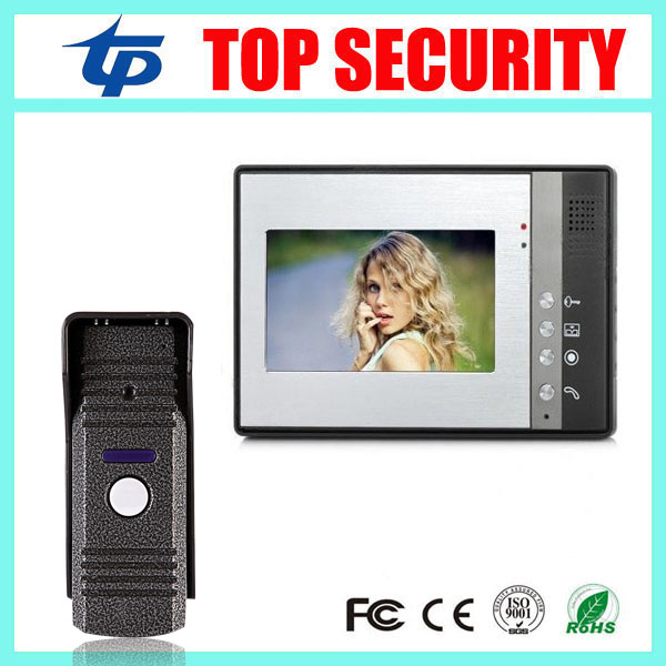 7 inch color screen video door intercom high solution night version video door phone system wired bell access control 7 inch password id card video door phone home access control system wired video intercome door bell