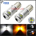 High Power 1157 2057 2357 CRE'E Switchback White/Amber LED Bulbs w/ Reflector Mirror Design for Front car Turn Signal Lights