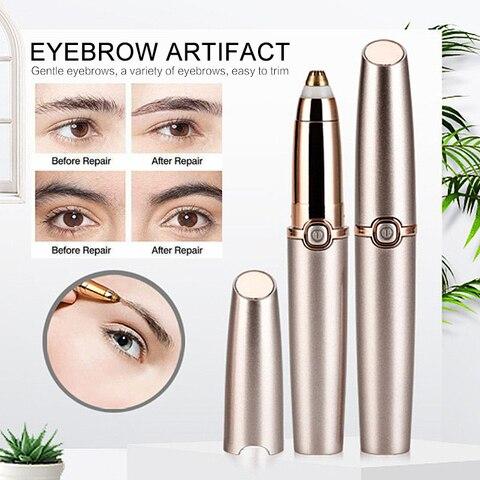 Portable Eye Makeup Care Electric Eyebrow Trimmer Lipstick Brows Pen Hair Remover Painless Eyebrow Razor Epilator with LED Light Karachi