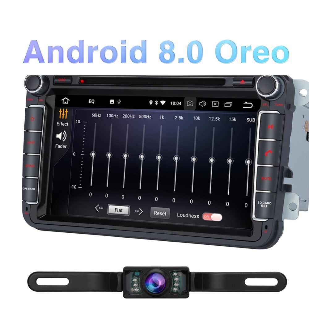 """カボチャ 2 Din 8 """"カーマルチメディアプレーヤーアンドロイド 8.0 GPS Autoradio ステレオフォルクスワーゲン/ゴルフ/シュコダ Wifi 4 グラム DAB + FM ラジオ高速ブート"""