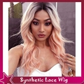 Two tone black ombre dark pink lace wig glueless synthetic lace front wigs with baby hair short dark roots 3inch part 3-4inch