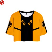 Naruto 3D Printed Women Crop Tops 2018 Hot Sale Summer Short Sleeve T-shirts Anime Fashion Style Casual Girls Sexy Tee Shirts(China)