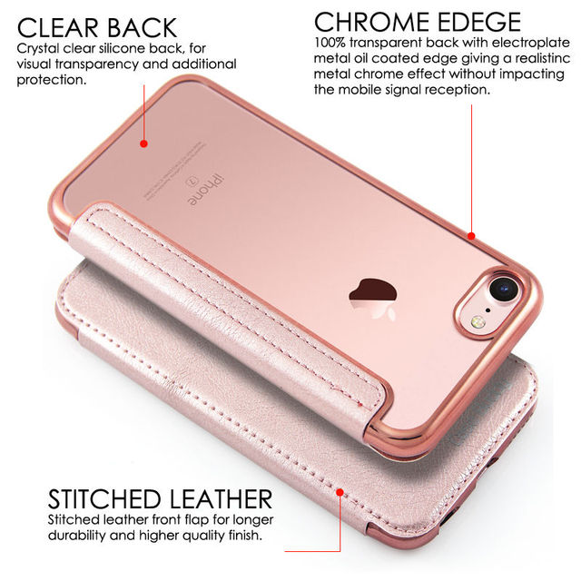 sports shoes 103d9 de6a1 US $3.99 |CreatValu Clear TPU PU Leather Flip Phone Case Silicone Cover  Wallet for iPhone 6 6s plus For iPhone 7 8 plus 5 SE X Case-in Wallet Cases  ...