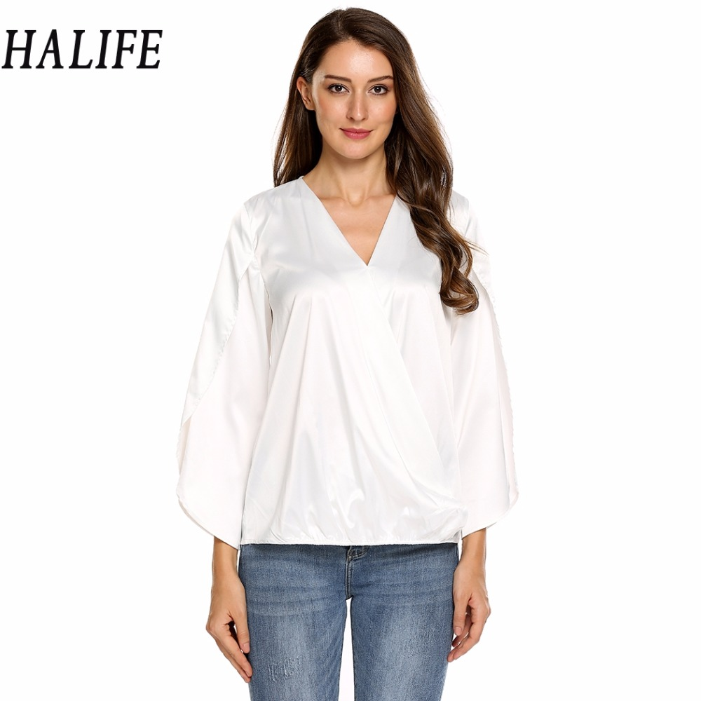 346e42b3a42 HALIFE Korean Fashion Clothing Women Plus Size V Neck Long Sleeve Split  Faux Wrap Top Satin Office Shirt Formal Blouse Femme 20-in Blouses   Shirts  from ...