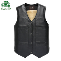 NIANJEEP 2018 Winter Super Warm PU Leather Mens Vests Casual Black Winter Men Pockets Vest Button Thicken Fleece leder west XXXL