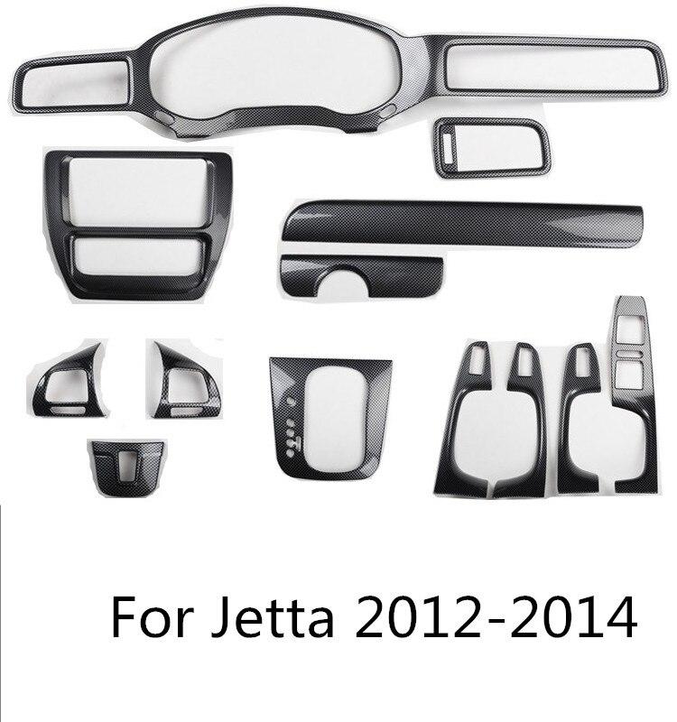 Carbin Fibre Center Console Steering Wheel Gear Instrument Door Mouldings Frame Cover For Volkswagen Jetta 2012 13 2014  AA315