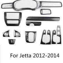 Карбин волокна центральной консоли рулевого колеса шестерни инструмент двери молдинги рамка Крышка для Volkswagen Jetta 2012 13 AA315