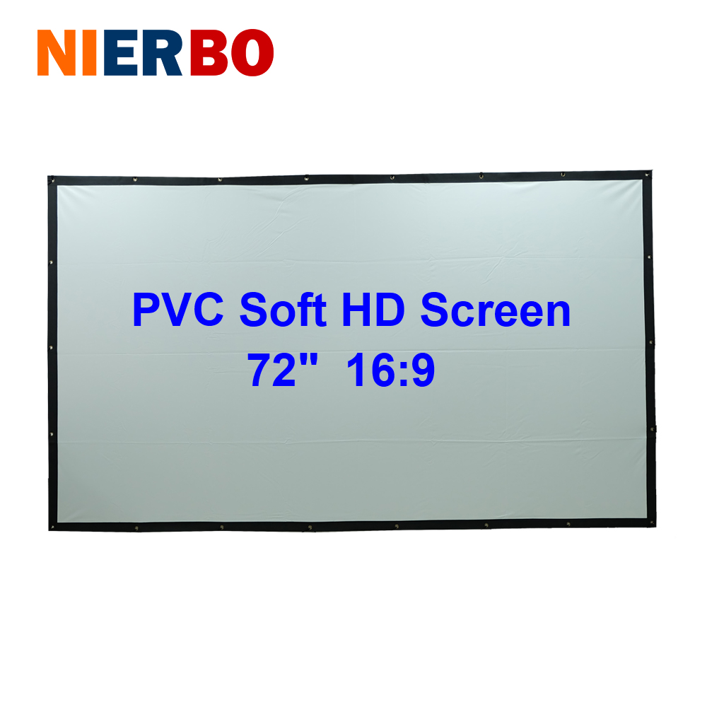 72 inches 16:9 HD Projector Screen Portable Folded PVC Soft Front Projection Screen Fabric with Eyelets without Frame Black Back