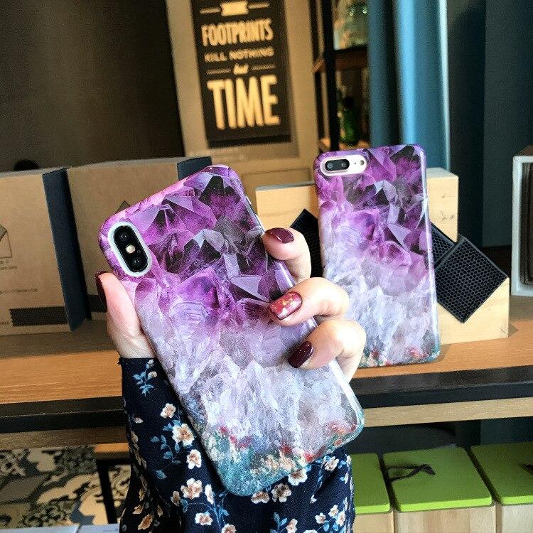 Роскошное фиолетовое мрамор текстура телефона чехол для iPhone X 10 6 7 8 Пульс PC трудно матовое задней крышкой для iPhone 6 7 8 Coque Fundas