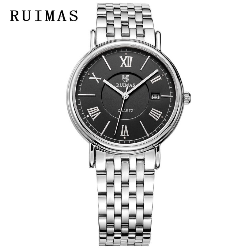 Men Business Watch RUIMAS Male Dress Quartz Watches Top Brand Mens Calendar Waterproof Stainless Steel Clock Relogio Masculino free shipping 10pcs lot 74hc574d 74hc574 sop 20 ic 100% new