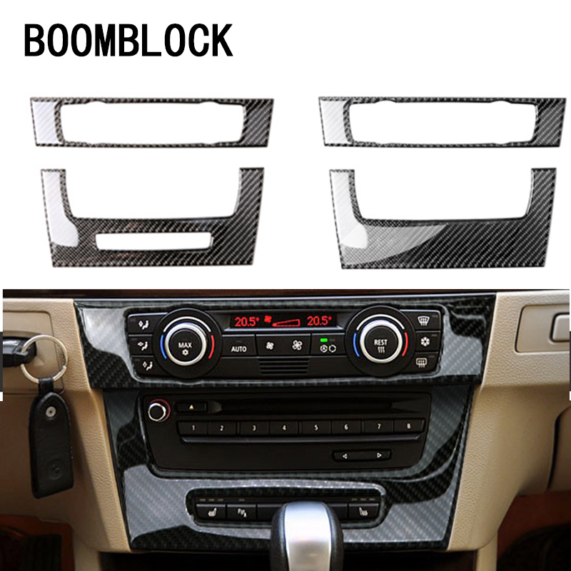 CNPARTS For BMW E90 BMW 3 Series Car Styling Carbon Fiber Stickers Center Console Air Condition Vent Outlet Covers Accessories image