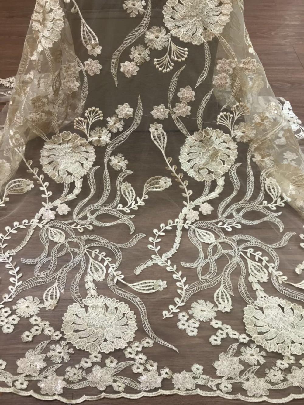 2018 Latest French Nigerian Lace Fabric Fine Yarn Fabric, African Wedding French Yarn Lace
