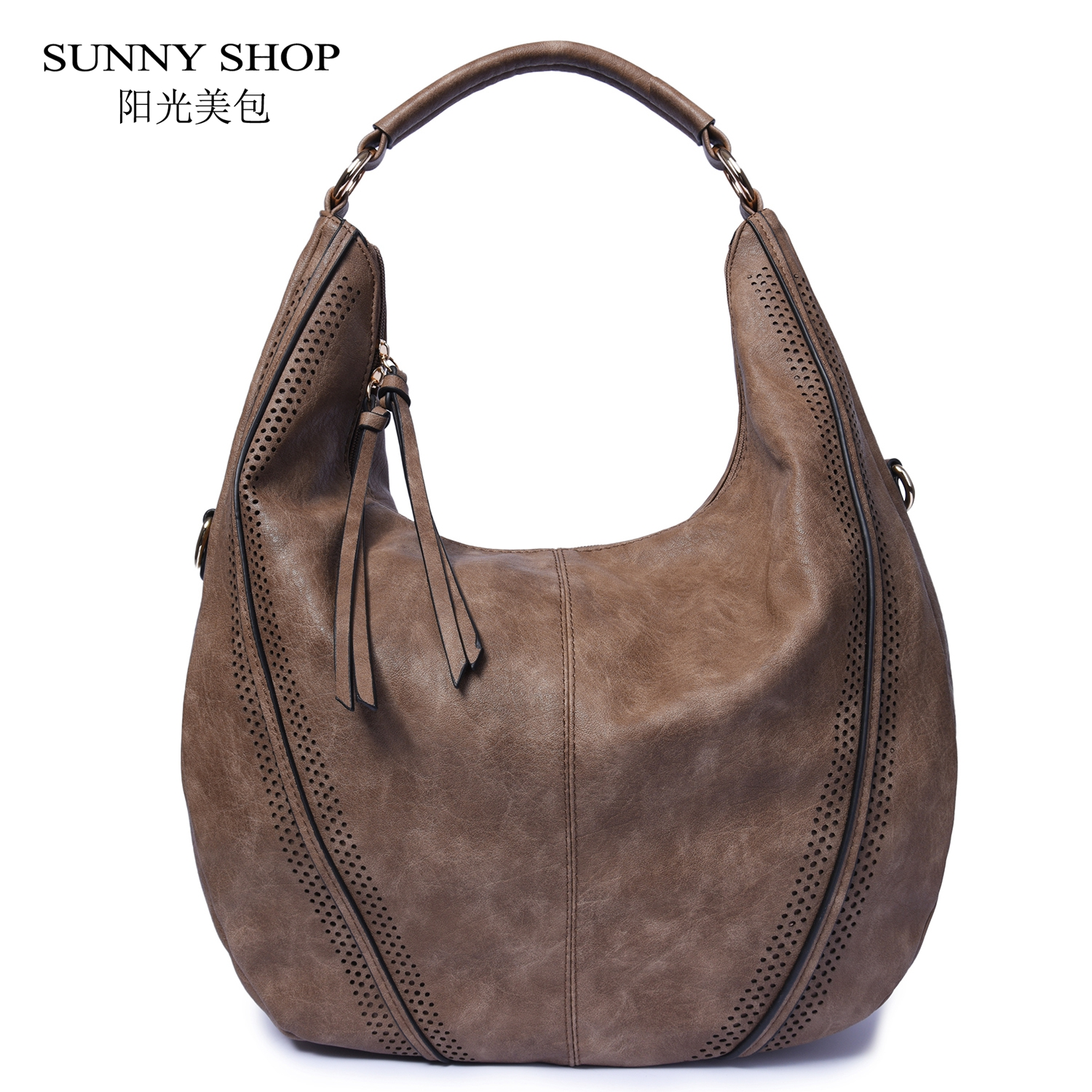 SUNNY SHOP Vintage Soft PU Leather Hobos American Fashion Large Tote Bag Tassel Hollow Out High