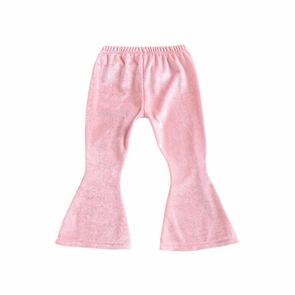 Baby Girls Bell Bottom Stretch Pleuche Pants Long Trousers Newborn Toddler Children Baby Clothing Warm Cute Wide Leg Flare Pants