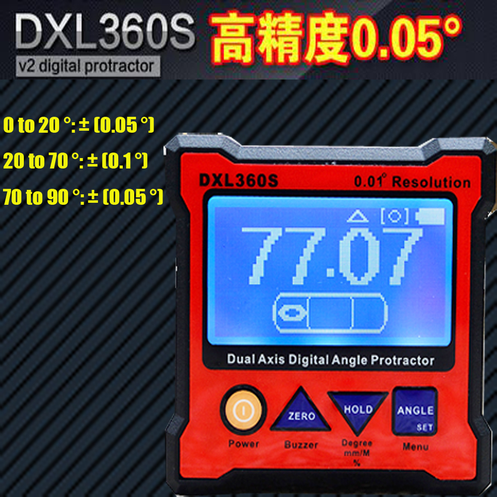 DXL360S Angle ruler ,Elevation meter, Dual Axis Level  High-precision Digital Protractor Inclinometer kapro high precision movable angle woodworking tools universal horizontal line t shaped angle ruler a protractor