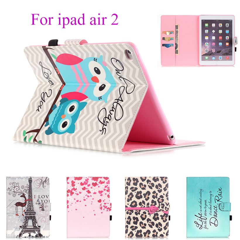 Fashion Painted Flip Leather Case For Apple ipad Air2 ipad 6 Cover Cases Magnetic Card Slots wallet Protective Shell Capa Skin vintage leather multi function wallet card pocket zipper flip case cover for apple iphone 6 6s 4 7