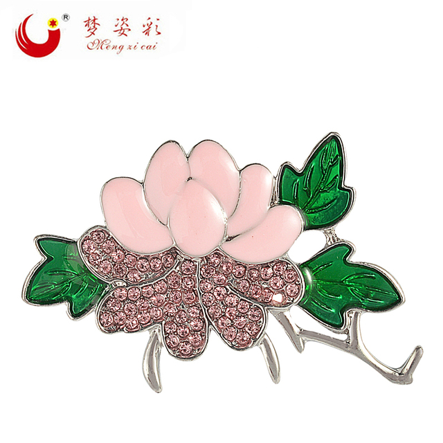Mzc Chinese Style Classical Pink Lotus Flower Green Leaves Brooches