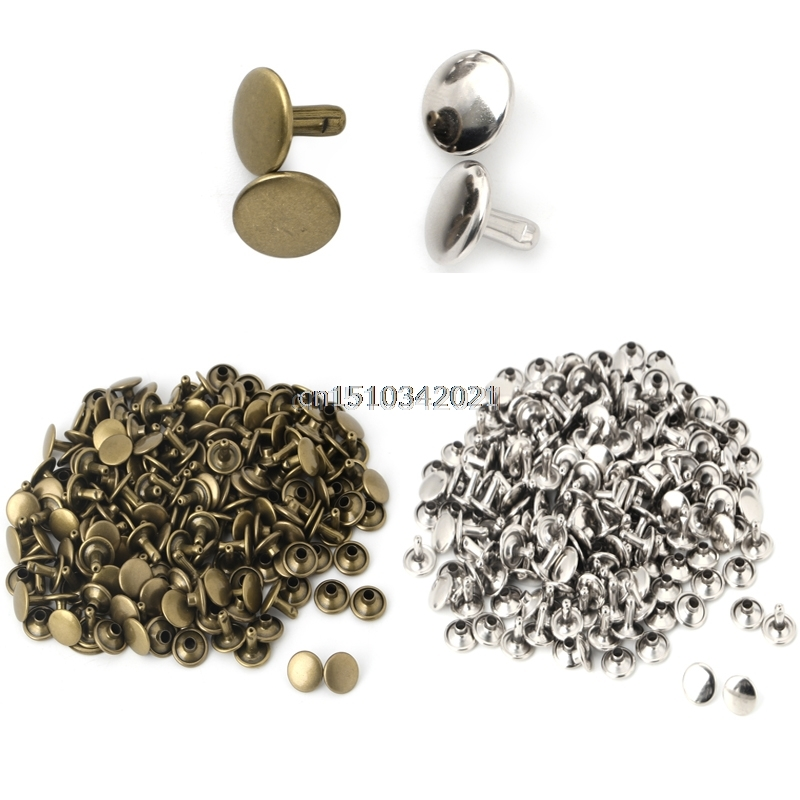 100x Sided Cap Rivet Tubular Metal Læder Håndværk Reparationer Studs Punk Spike Decor