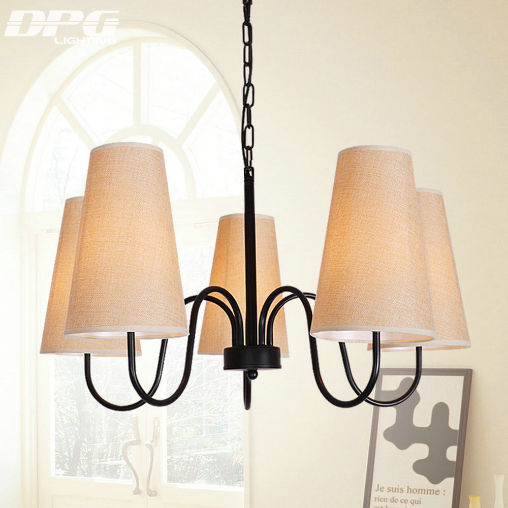 Modern Small Black Chandelier Lights with shade E14 Led Iron Home Lighting For Living room Bedroom Kitchen