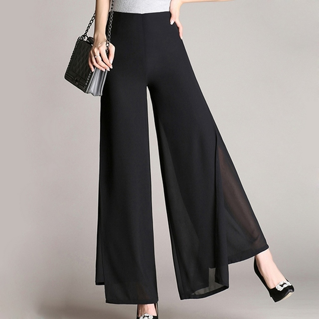 e256747d7 Wide Leg Chiffon Palazzo Pants Ladies Side Split High Waist Long Pants Women  Casual Plus Size