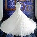 2016 Белый Дешевые Свадебные Платья vestidos de noiva Бальное платье Свадебные Платья Молния Назад Люкс Свадебное Платье