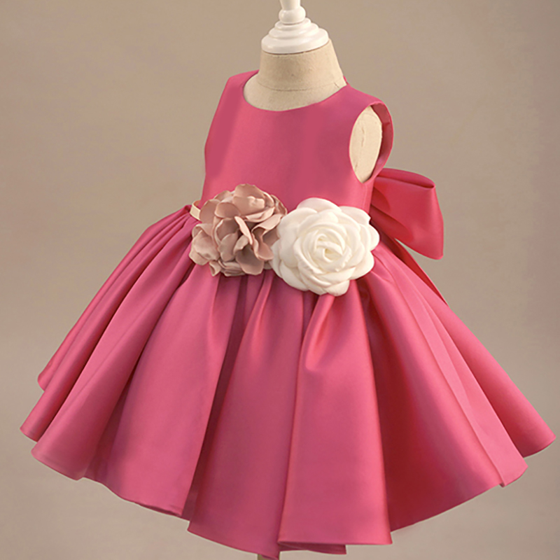 Cute Baby Dress for Girls 1 Year Birthday Bebes Floral Big Bow Princess Dress Newborn Infant