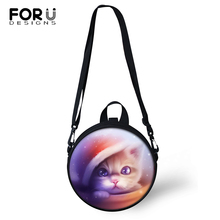 FORUDESIGNS Kawaii Cats Print Kinderdom Baby Shoulder Bags Women Round Shape Messenger Fantastic Animal Girls Circular