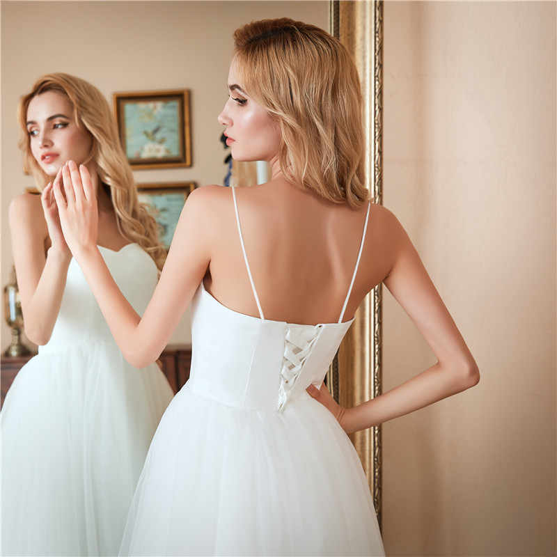 LAMYA לבן תה אורך חתונת שמלת מתוקה פשוט כלה שמלות אלגנטי חוף כלה מסיבת Dresse בתוספת גודל Vestido דה Noiva