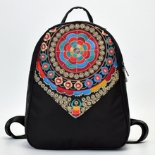 Fashion National Embroidered Women Nylon Backpack College Students School Bag Vintage Female Travel Mochila