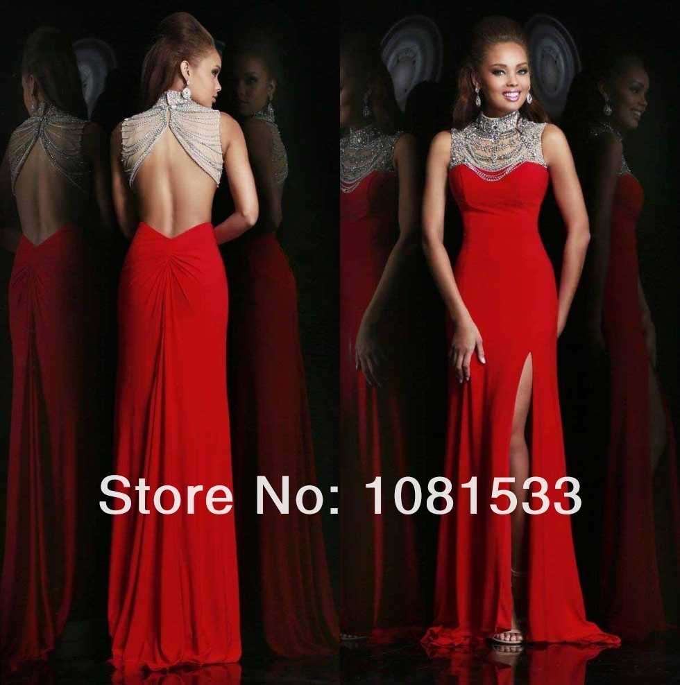 High Neck Low-Back Prom Dresses