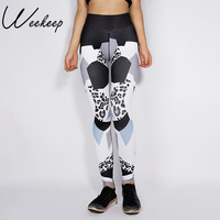 Gagaopt 2016 New Autumn Leggings Women Fitness Lepard Patchwork White Black Printed Workout Skinny Trousers Casual
