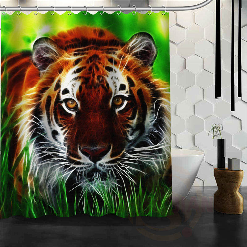 Custom 3D Tiger Farbic Shower Curtain Animal Print For Bathroom Curtains Decor In From Home Garden On Aliexpress