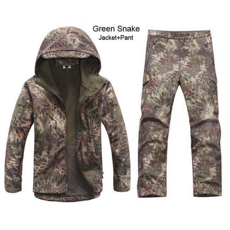 Winter Autumn Waterproof Shark Skin Softshell Jacket Set Men Tactical CP Camouflage Jacket Coat Camo Military Army Clothes Suit