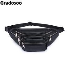 2040a12628 Gradosoo Mode Femmes sacs pour la taille PU En Cuir sac banane décontracté  Multi-couche Zipper sacs de ceinture Nouveau homme fe.