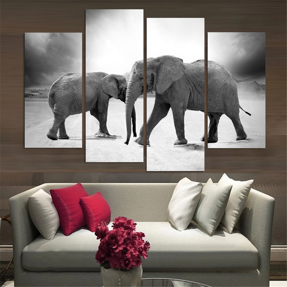 popular wall art for living room buy cheap wall art for living 4 panel large hd printed oil painting elephants canvas print modern home decor wall art pictures
