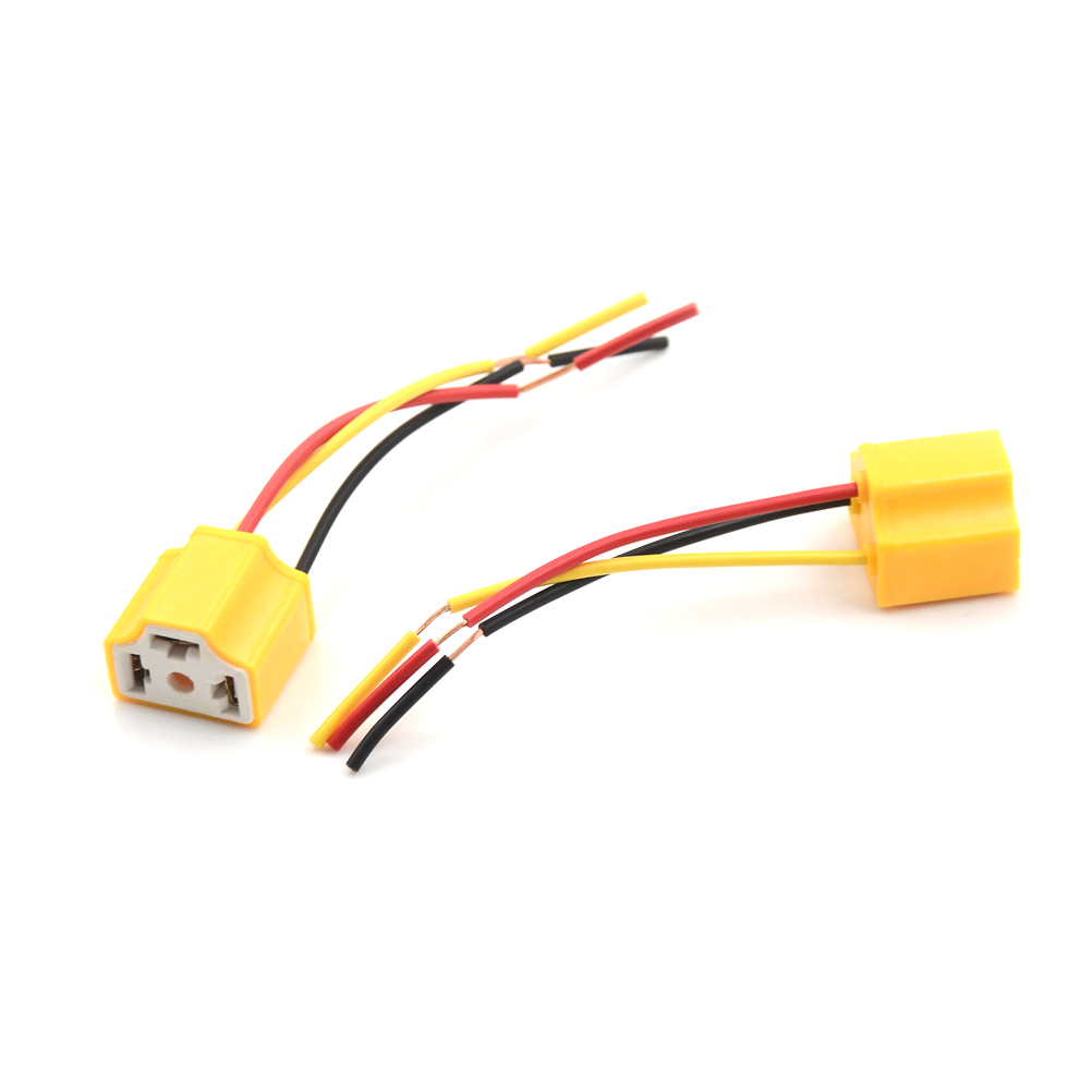 2PCS H4 Car Truck Female Ceramic Heat Resistance Headlight Extension Connector Wire Socket Adapter Wiring Harness Plug 10cm