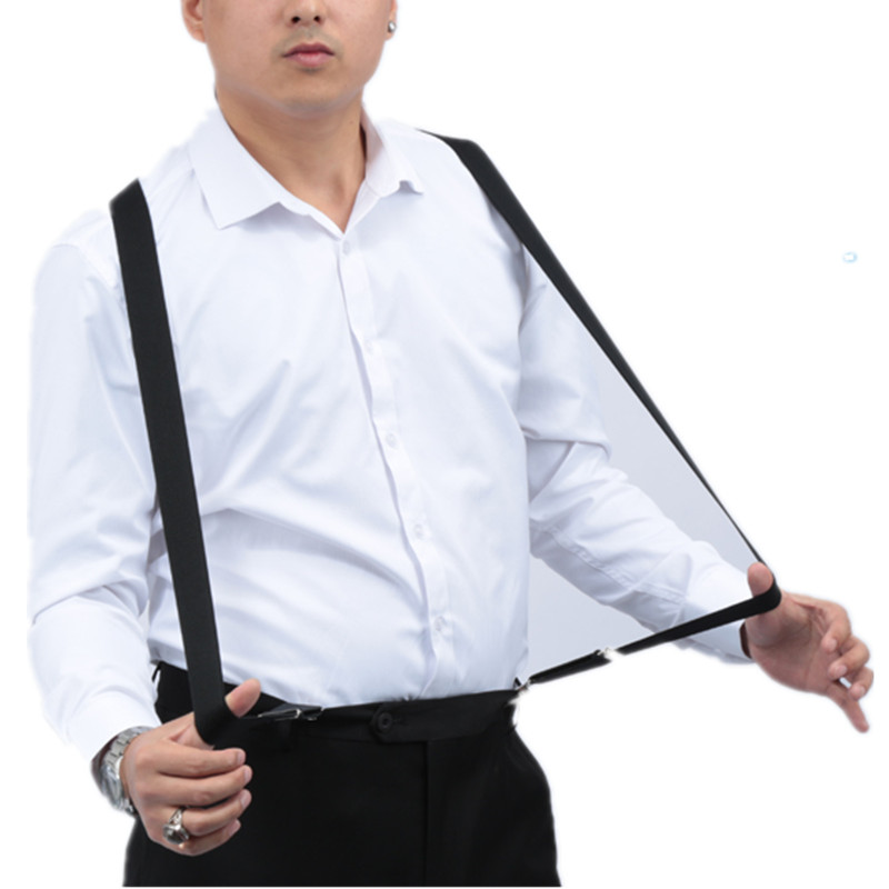BD054-3.5*140 Cm X-back Men's Suspenders Black Elastic Adjustable Hold Up Pants Braces For Children Adult Wedding Shirt Match