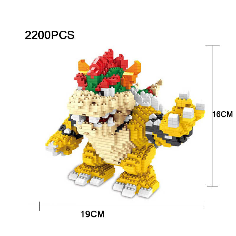 Funny game image super mario bros micro diamond building block Bowser Koopa nanoblock assemable bricks toys collection for gifts
