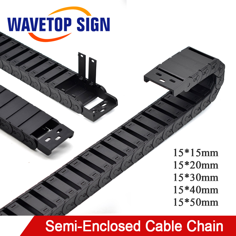 Cable cadena Semi-cerrado 15*20 30 40 50mm transportador de transmisión de alambre plástico Drag Towline para impresora 3D CNC máquina de grabado