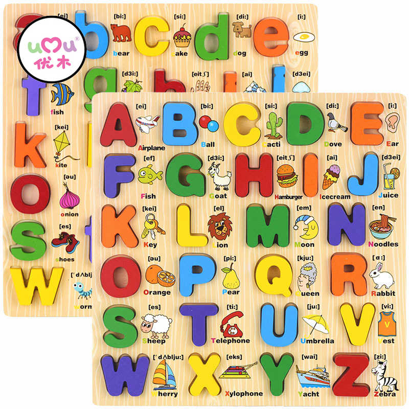 Montessori Materials Capital Lowercase Alphabet Board Language Learning Board Montessori Educational Wooden Toys UC2364H