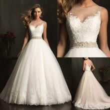 2016 New Fashion Modest Elegant Bridal A-line Appliqued Soft Tulle Custom Made Wedding Dress With Crystal 9079